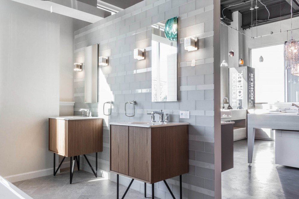 bathroom vanities on display in a Bender Showroom