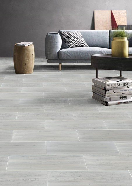 large gray subway tile flooring