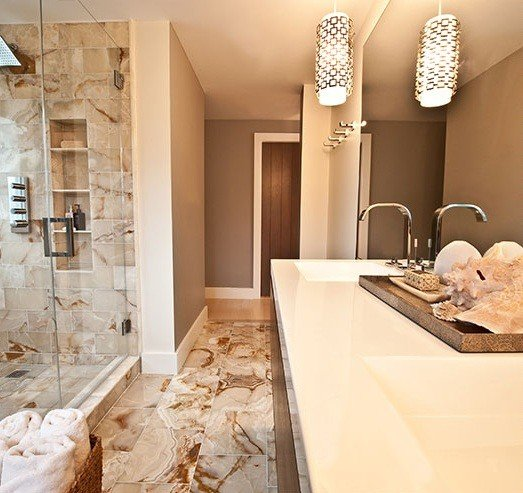 brown and white marble tile