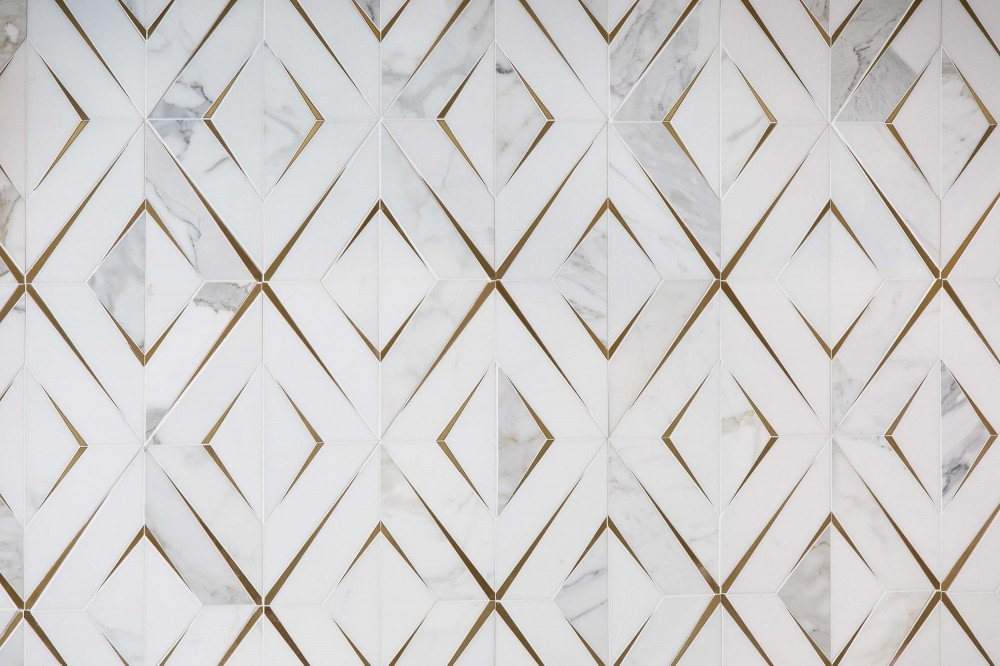 white and gold diamond tile