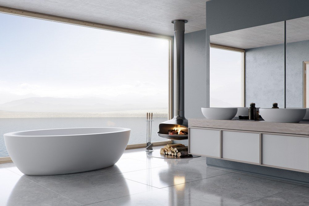 "75"" matte white freestanding soaking tub by FutureClassics"