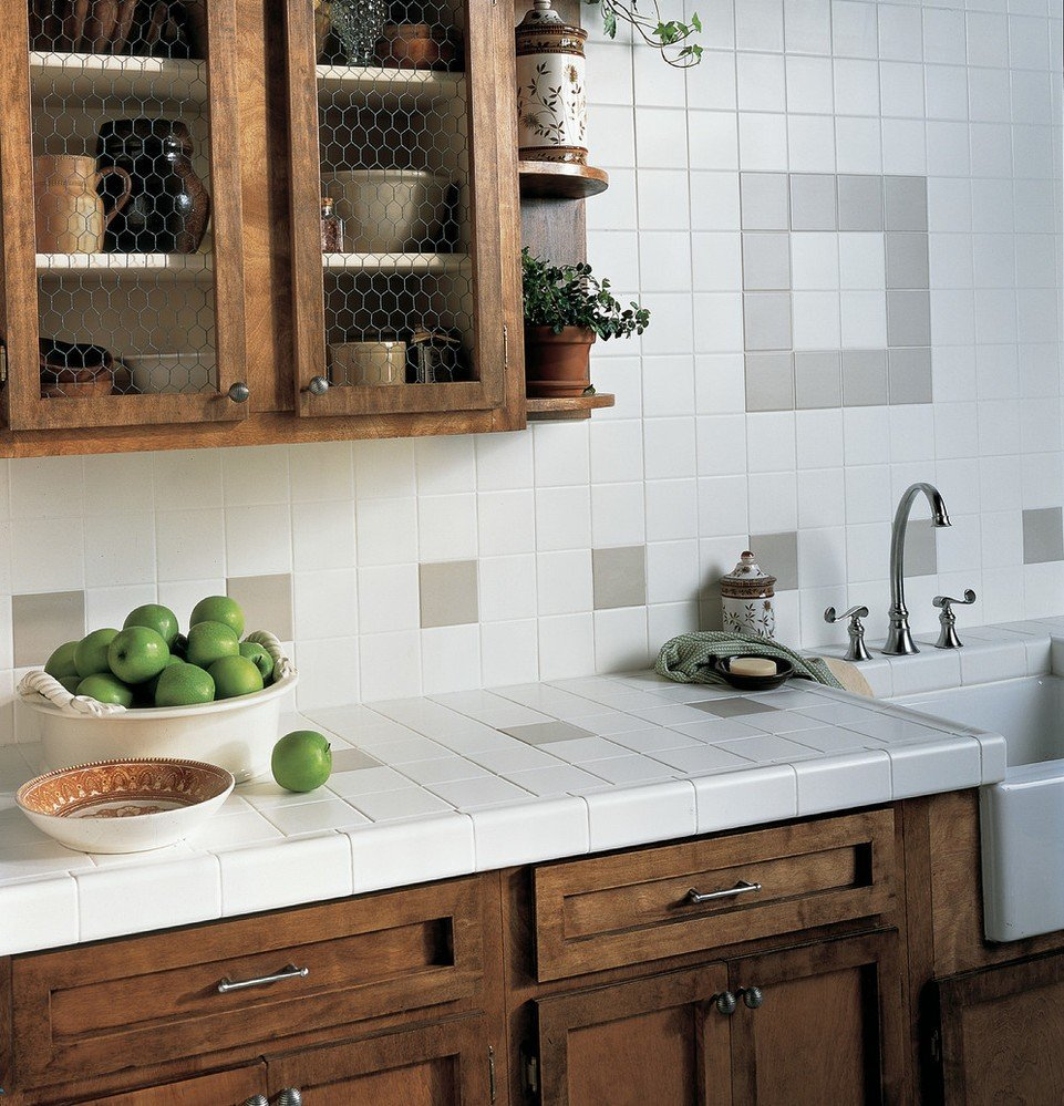 Brown and white square tile backsplash