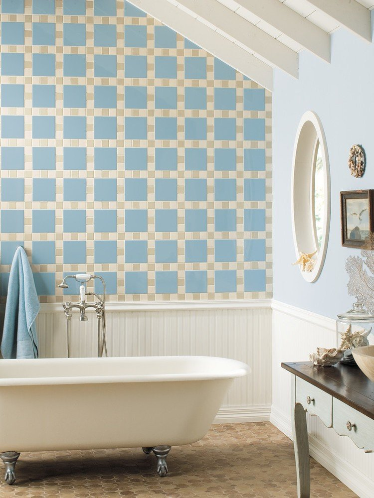 blue and yellow bathroom wall tile