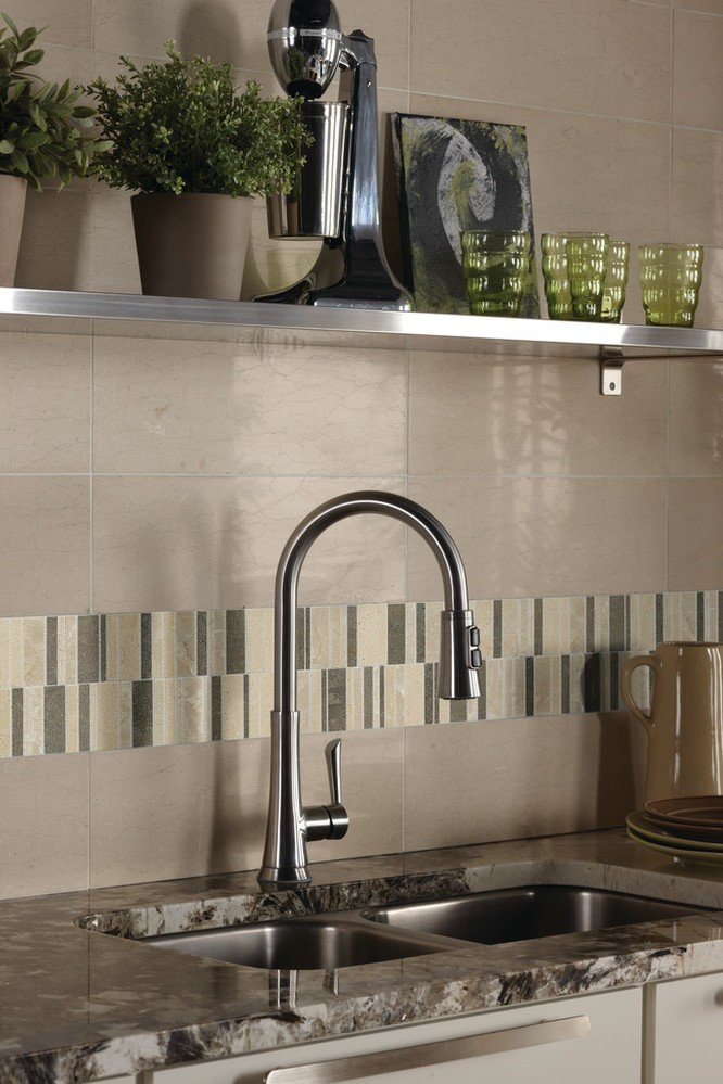 Medium square and small interlocking rectangle backsplash