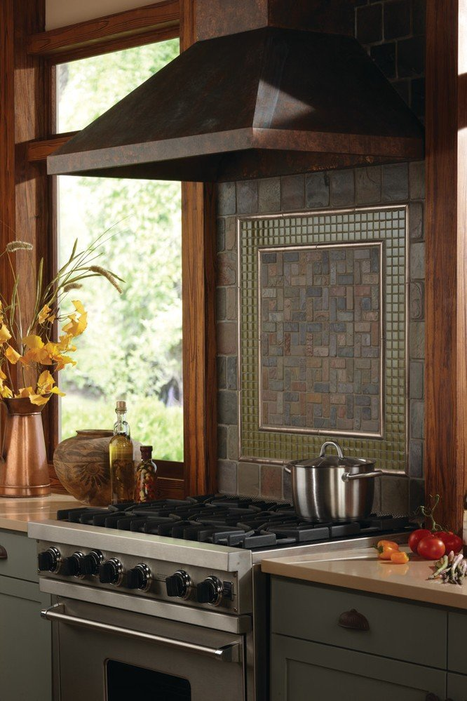 brown tone multi-shape  tile backsplash