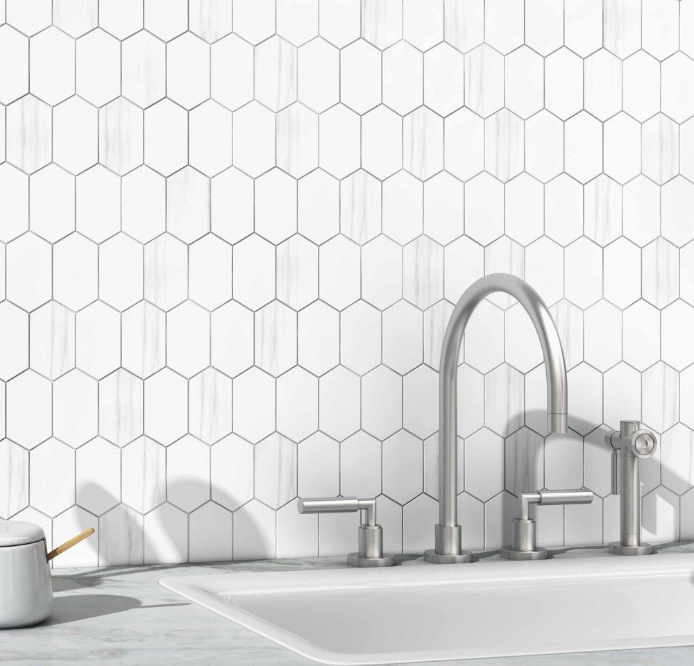 white and grey hexagonal tile