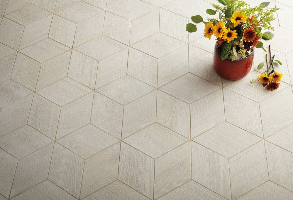 Geometric 3D square tile  in beige