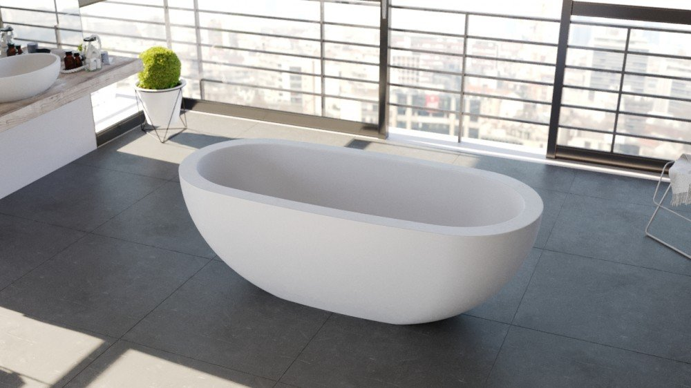 "70"" matte white freestanding soaking tub by FutureClassics"