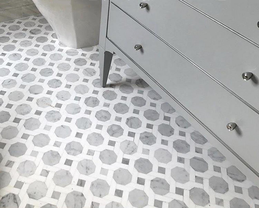 grey and white 3-d geometric tile