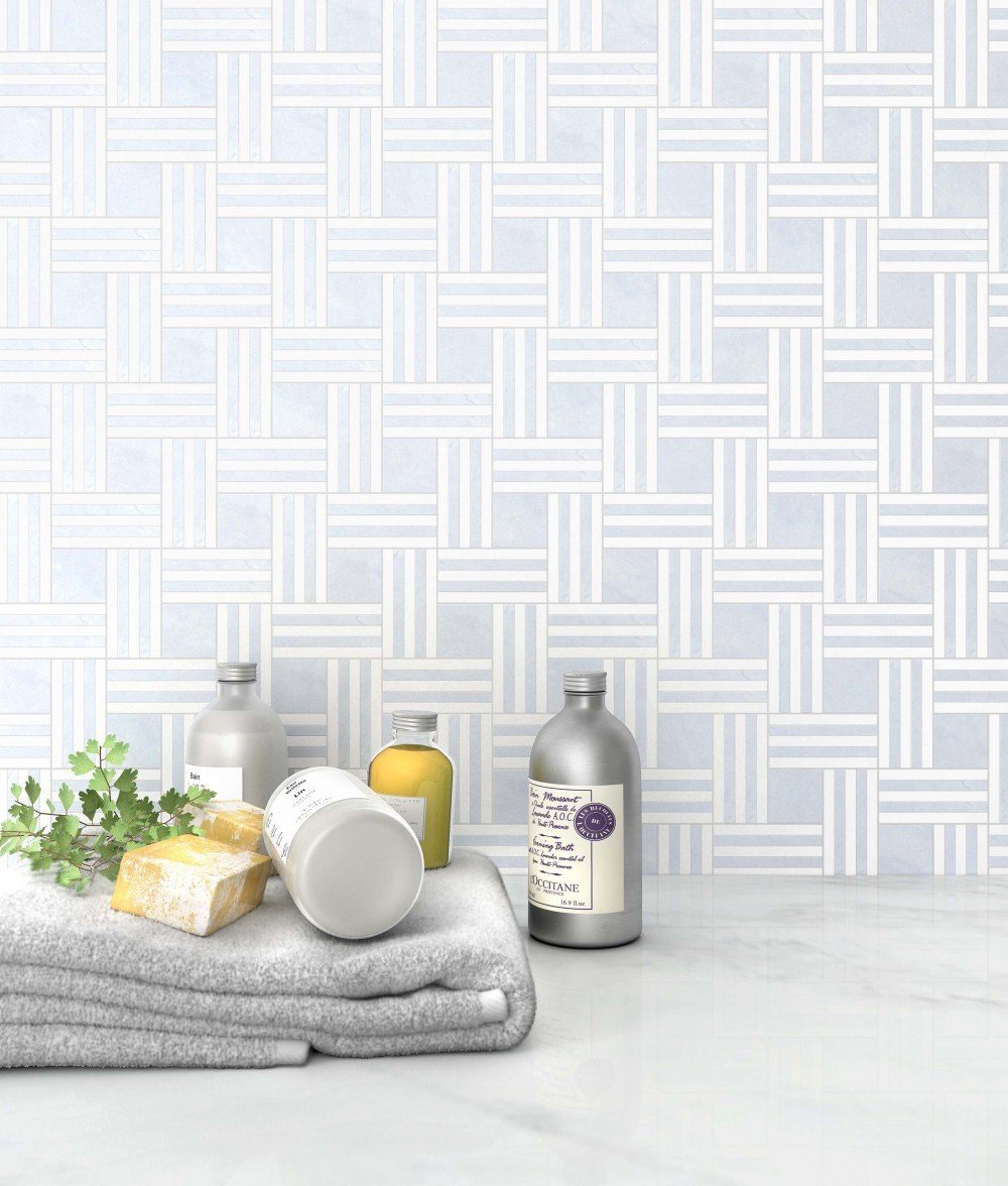 blue and white basket weave tile