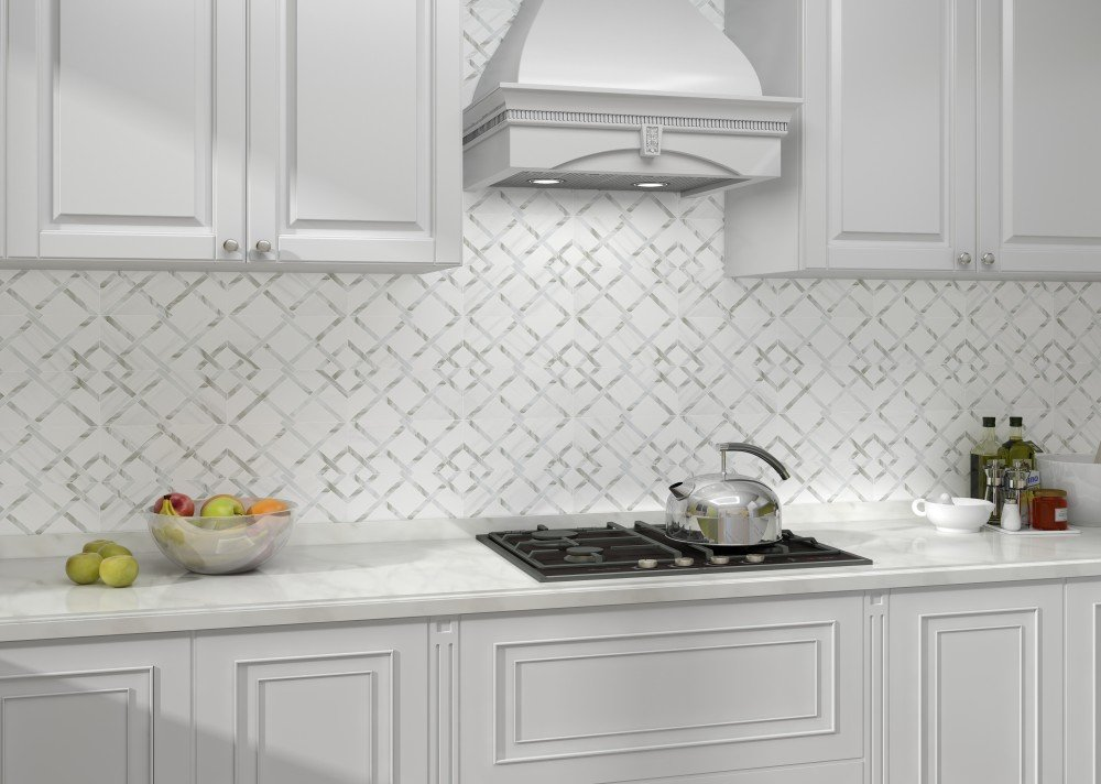 3-d grey and white backsplash tile