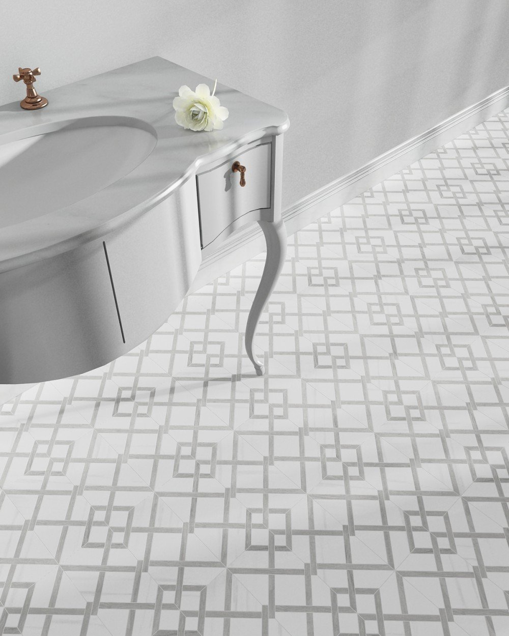 3-d geometric grey and white tile