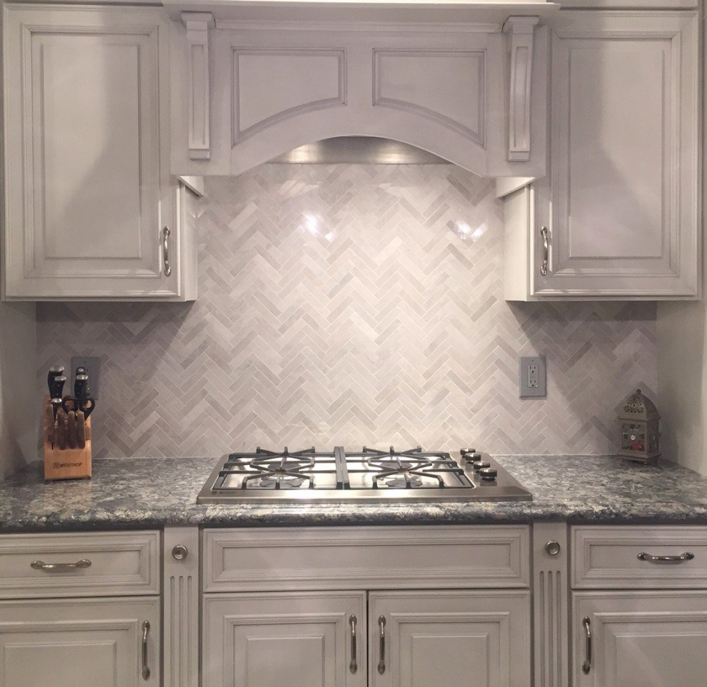 neutral herringbone tile