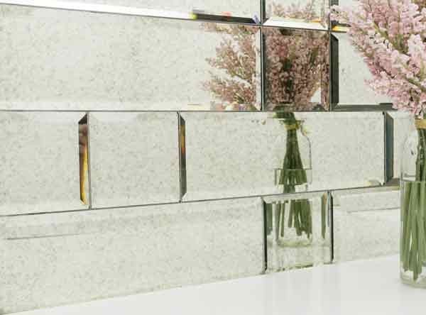 glass beveled subway tile