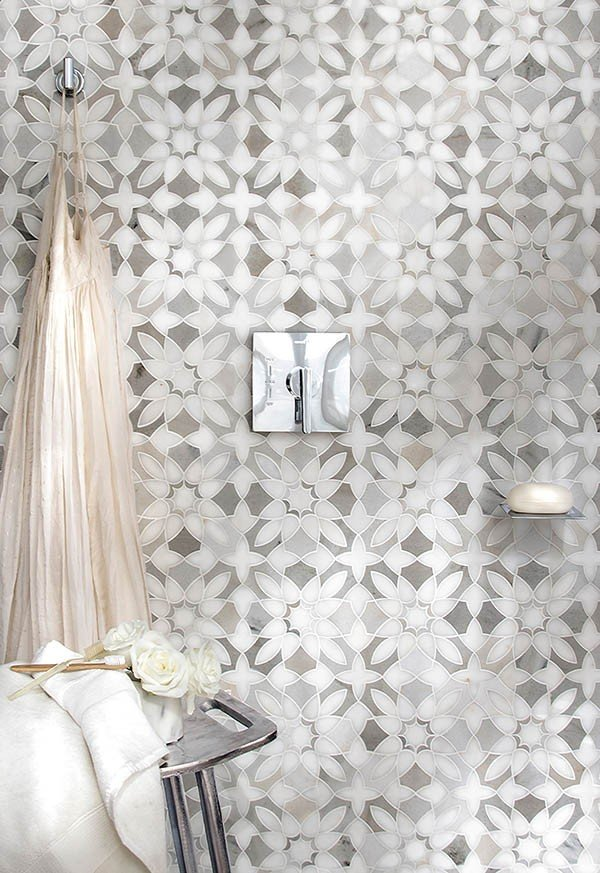 contemporary gray and white flower pattern tile