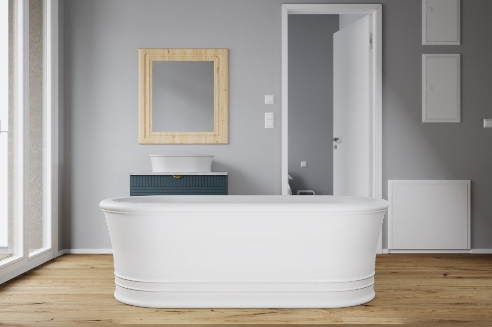 "71"" wide-edge white freestanding soaking tub by FutureClassics"