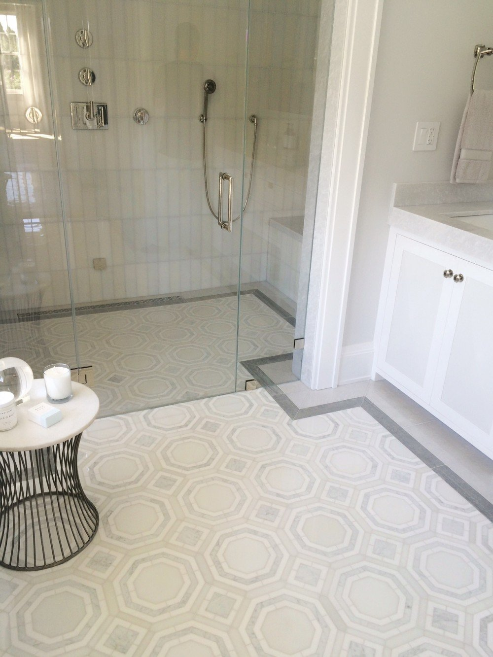 geometric white and grey tile
