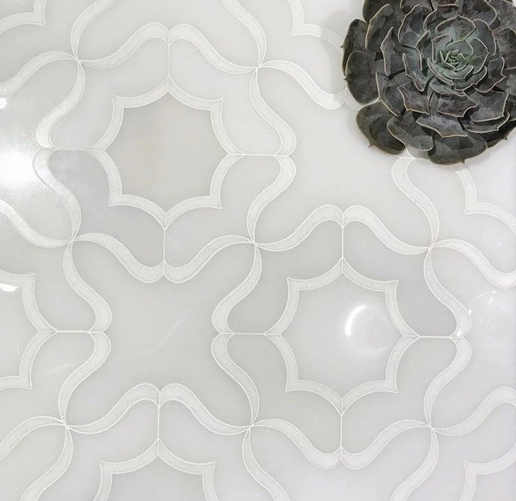 wavy white and grey tile
