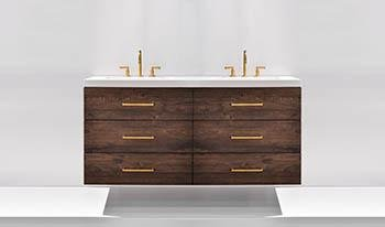 modern wall-hung bathroom cabinetry with gold accents